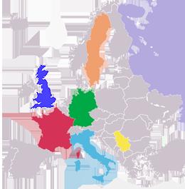 Wir sind in den folgenden Ländern present in Europa